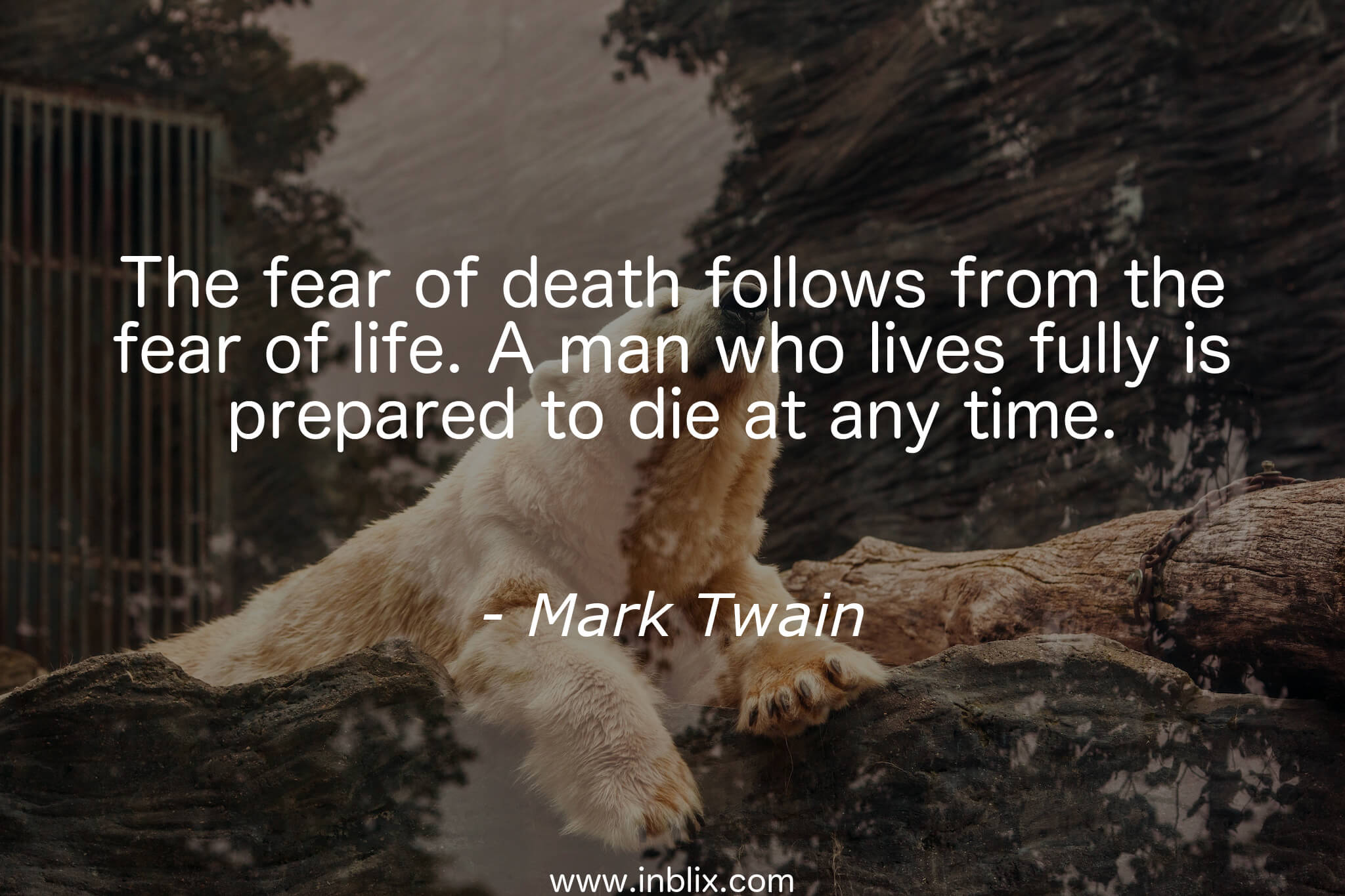 "on the fear of death On the fear of death ""consciously or unconsciously, with acceptance or denial, every day you move one day nearer to your death is today a good day to die."