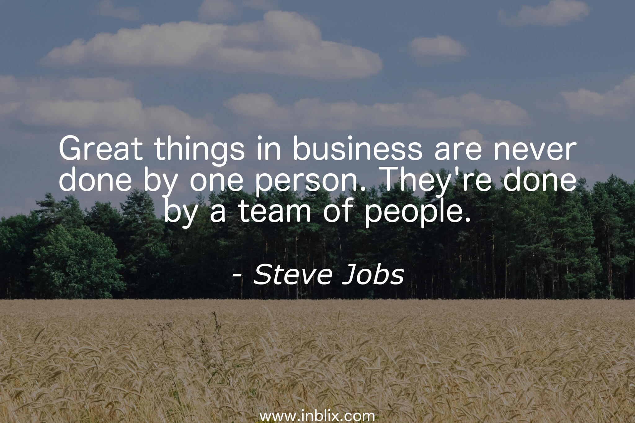 Great things in business are never done by one person. They're done by a team of people.