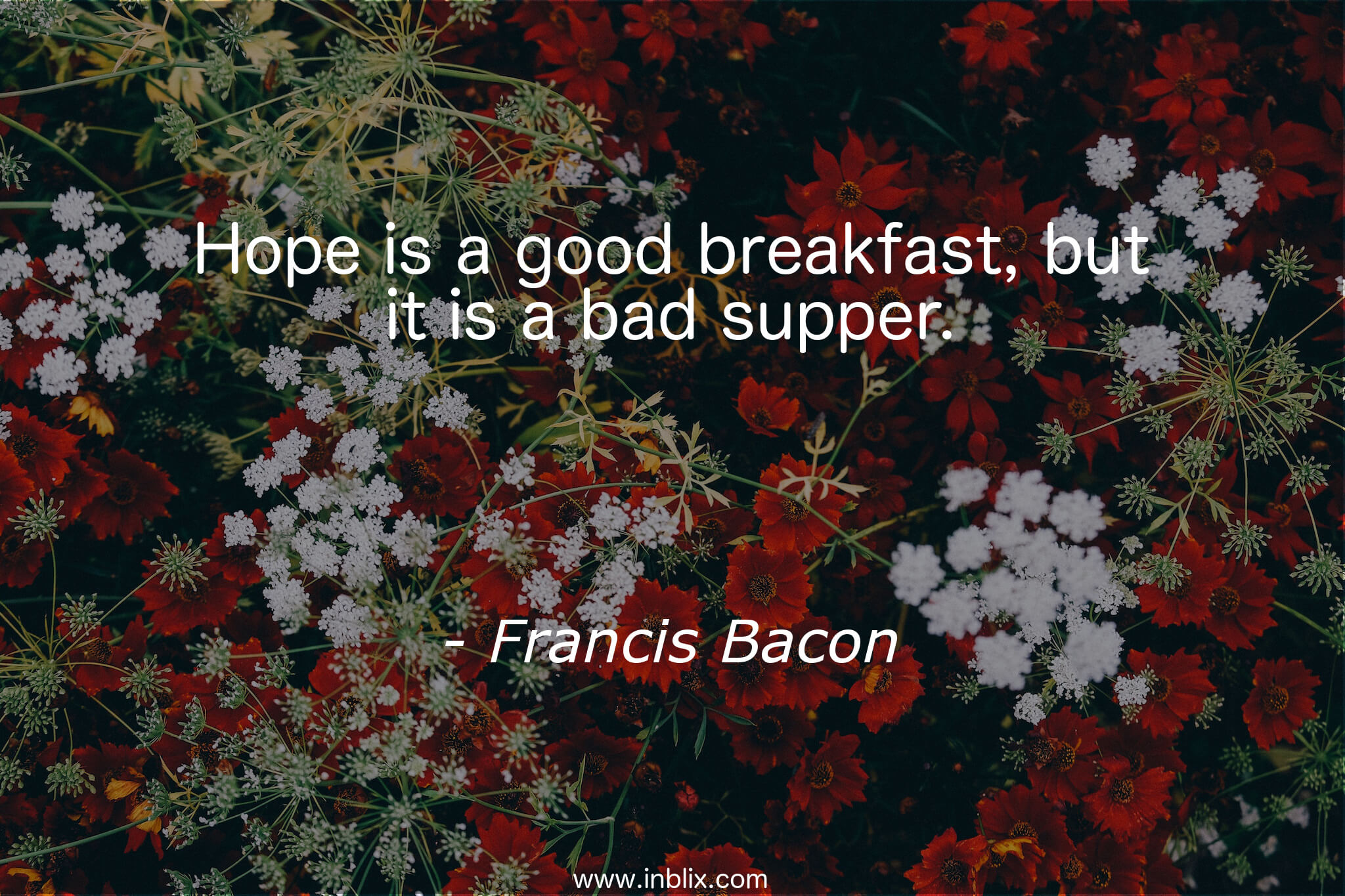 Hope is a good breakfast, but it is a bad supper.