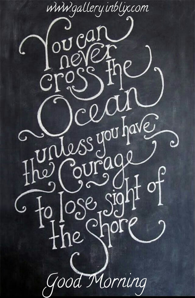You can cross the ocean unless you have the courage to lose sight of the shore.
