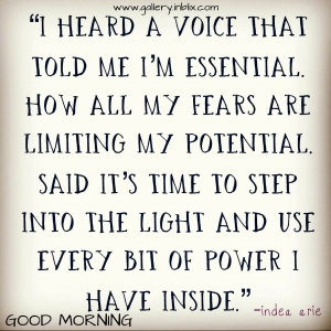 I heard a voice that told me I'm essential. How all my fears are limiting my potential. Said it's time to step into the light and use every bit of power I have inside.