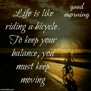 Life is like riding bicycle. To keep your balance, you must keep moving.