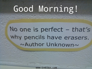 No one is perfect. That's why pencils have erasers.