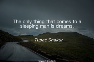 The only things that comes to a sleeping man is dreams.