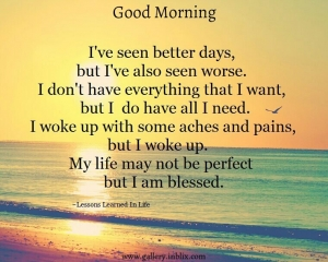 I've seen better days, but I've also seen worse. I don't have everything I want but I do have all I need. I woke up with some aches and pains, but I woke up. My life may not be prefect but I am blessed.