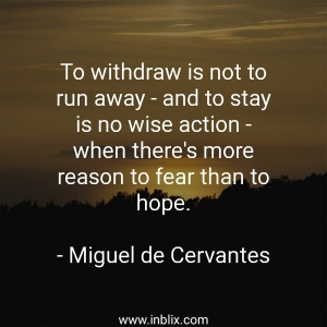 To withdraw is not to run away and to stay is no wise action, when there's more reason to fear than to hope.