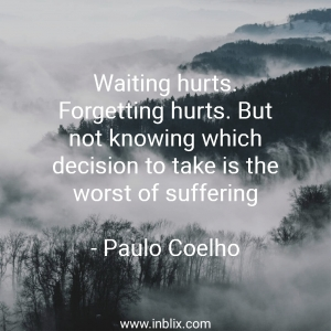 Waiting hurts. Forgetting hurts. But not knowing which decision to take is the worst of suffering.