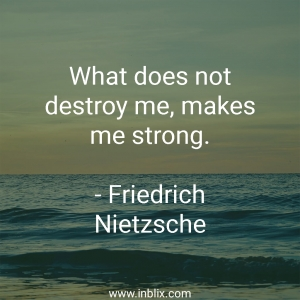 What does not destroy me, makes me strong.