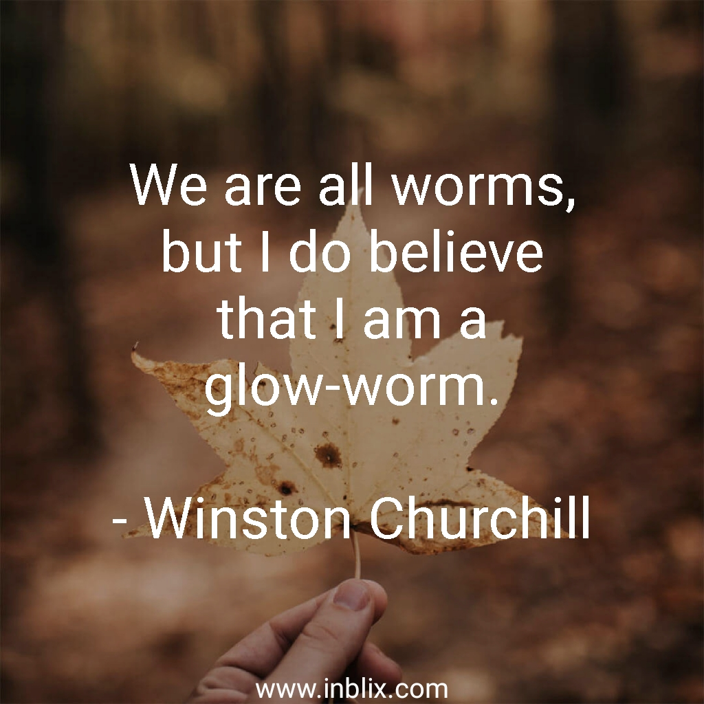 We are all worms, but I do believe that I am a glow-worm.