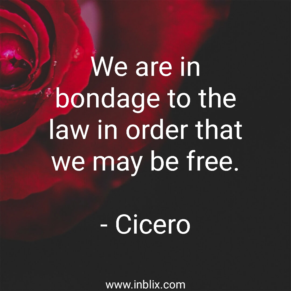 We are in bondage to the law in order that we may be free.