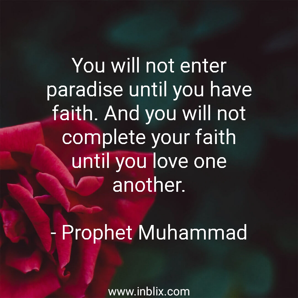 You will not enter paradise until you have faith. And you will not complete your faith until you love one another.
